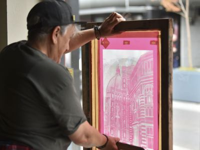 2021 Screen Printing at Carrugi Geelong by artist Roze Elizabeth