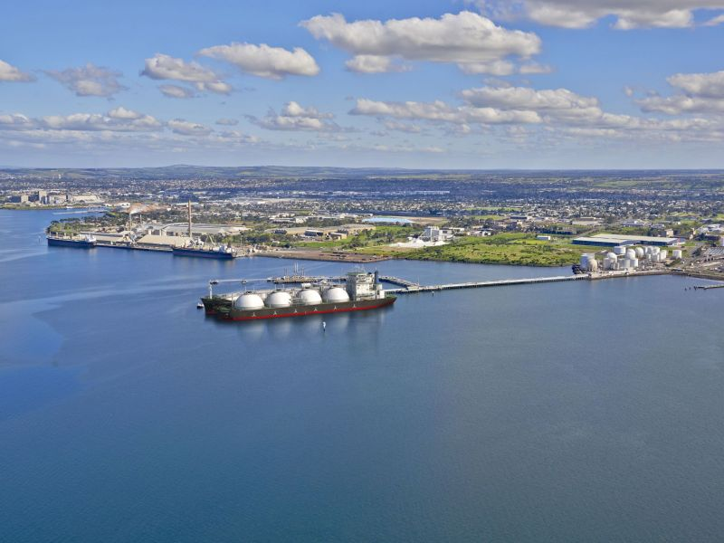 Concept image of an LNG terminal.