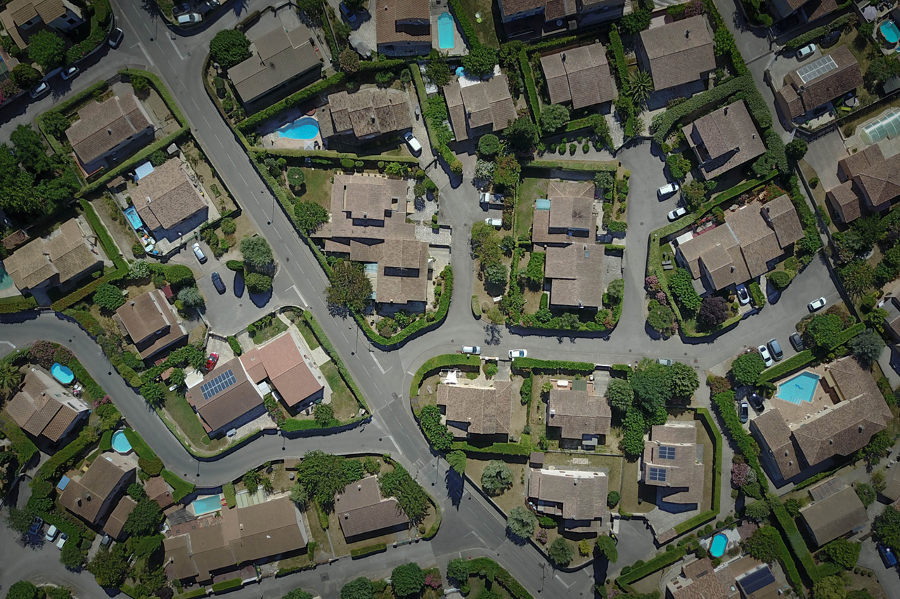 Aerial shot of neighbourhood houses