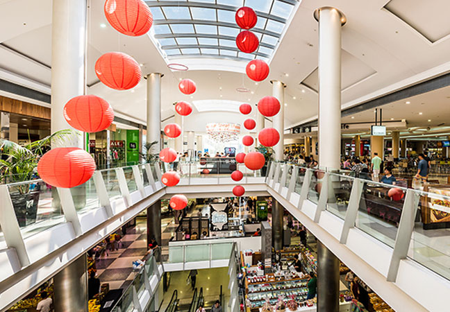 Image of Jaymestown centre and lanterns