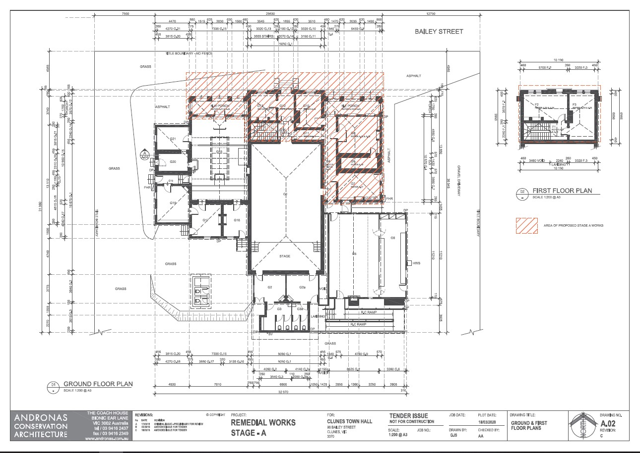 Clunes Town Hall plan