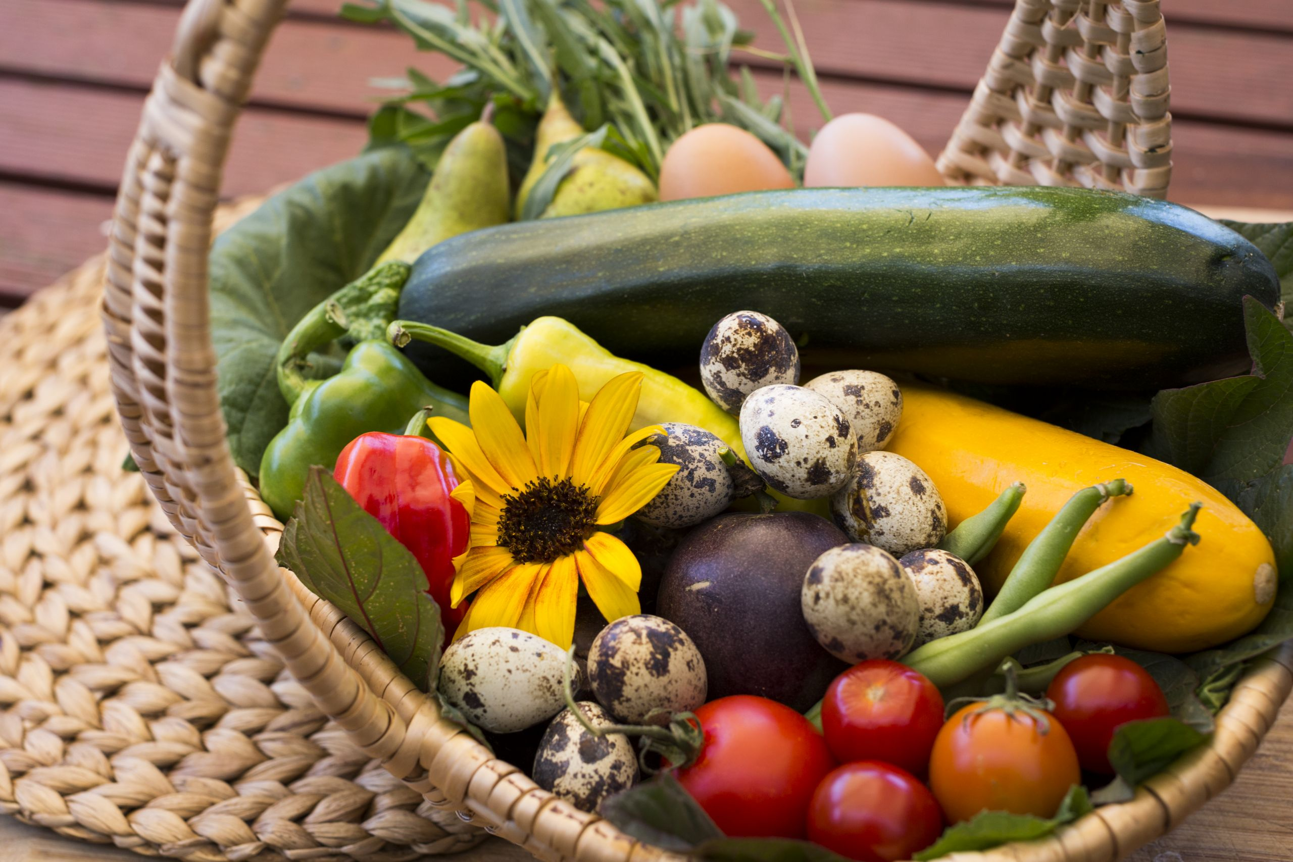 Basket of fruit, vegetables and herbs