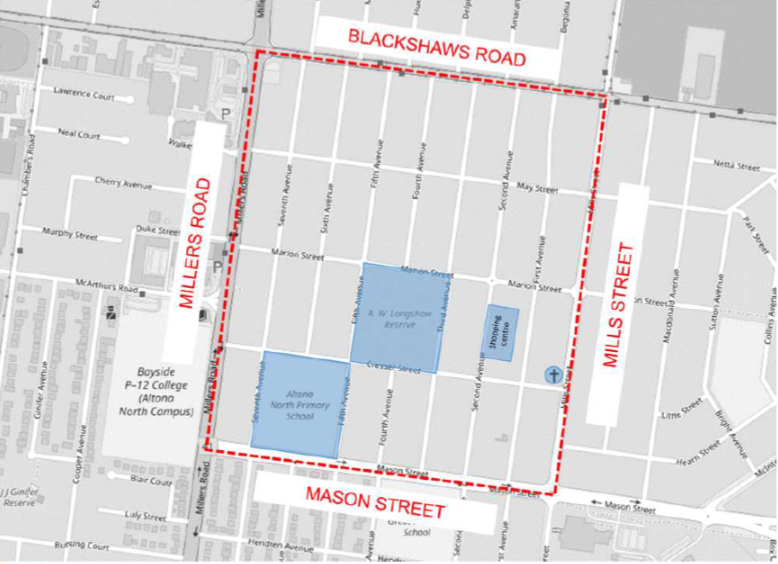 Area bounded by Blackshaws Road, Mills Street, Mason Street and Millers Road, Altona North