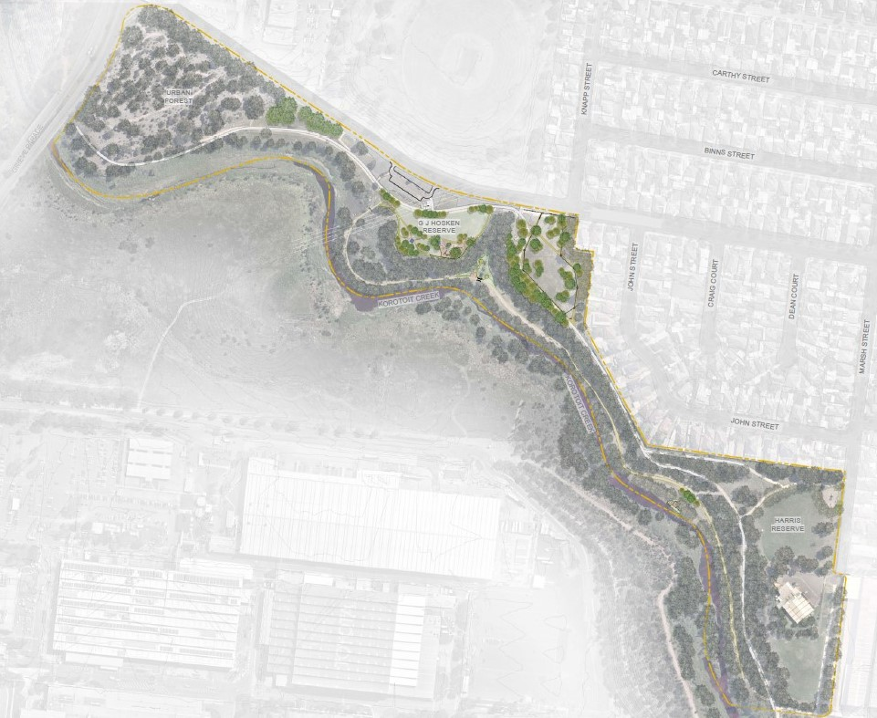 Mapped area of Open Space and Conservation Development Area for G.J Hosken Reserve