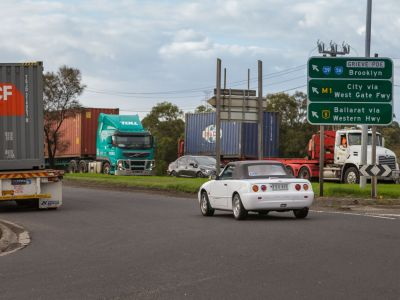 Trucks at roundabout