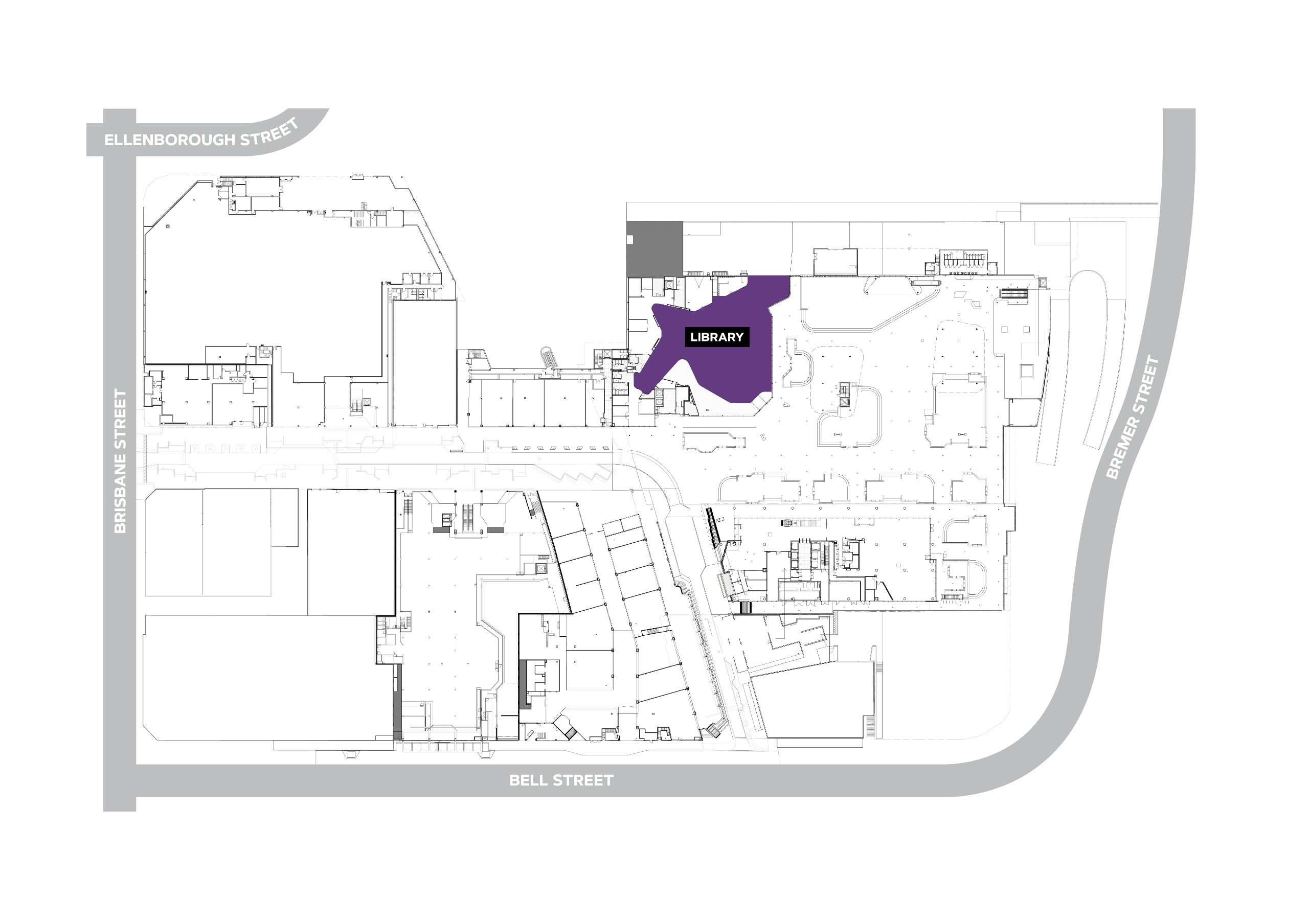 Line drawing map of the library to be named