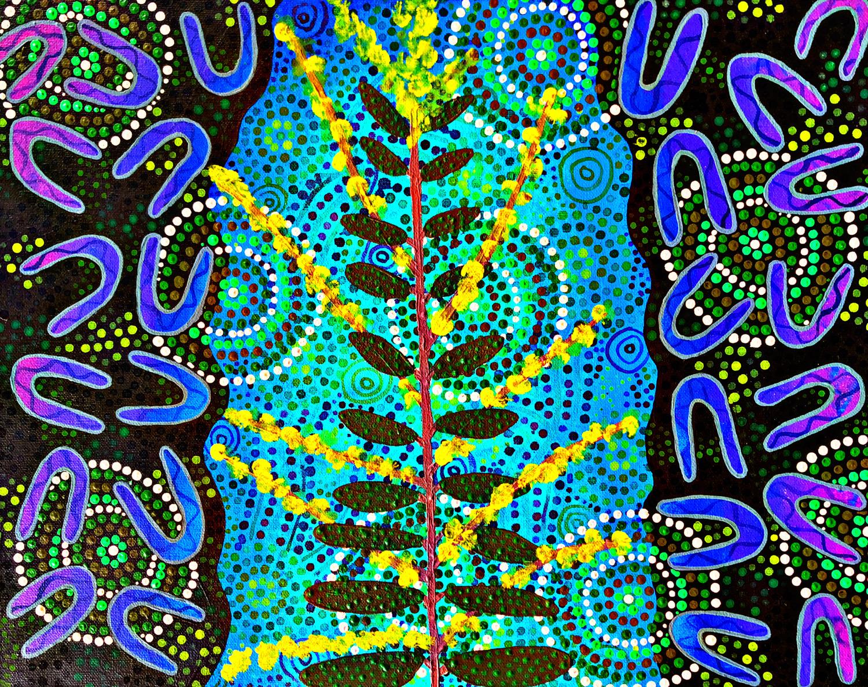 Indigenous artwork representing leaves and flowers