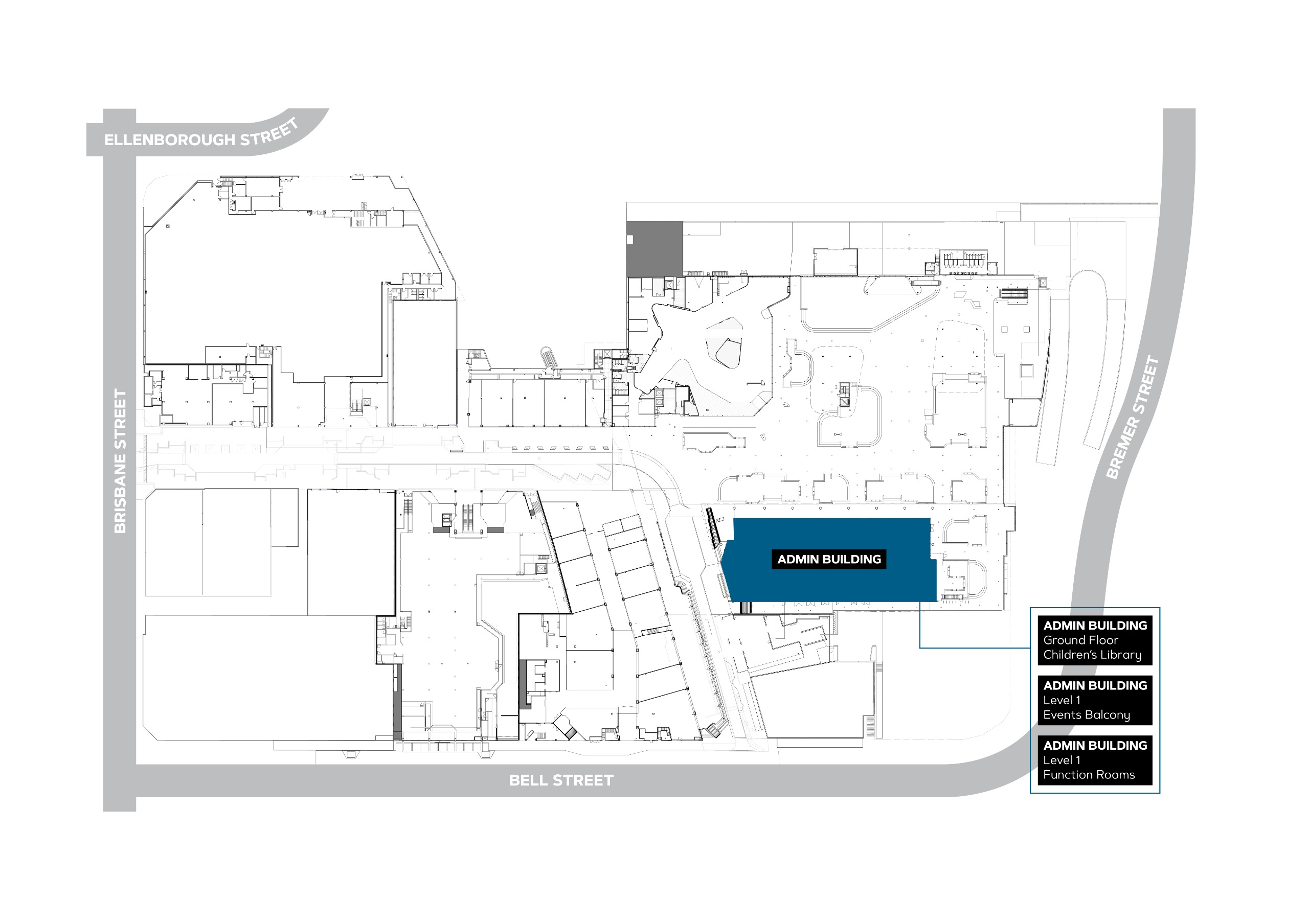Line drawing map of the admin building to be named