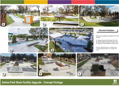 A group of photos showing different types of skate parks