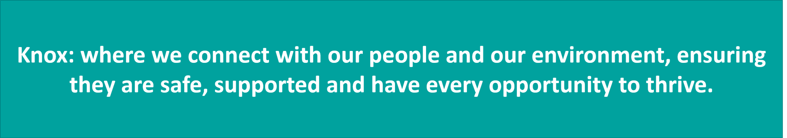 Our preferred vision statement is Knox: where we connect with our people and our environment, ensuring they are safe, supported and have every opportunity to thrive