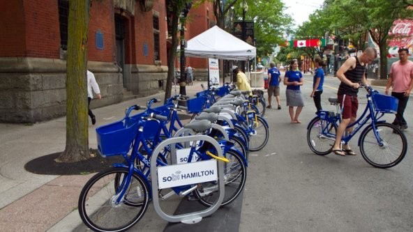 Row of blue bikes