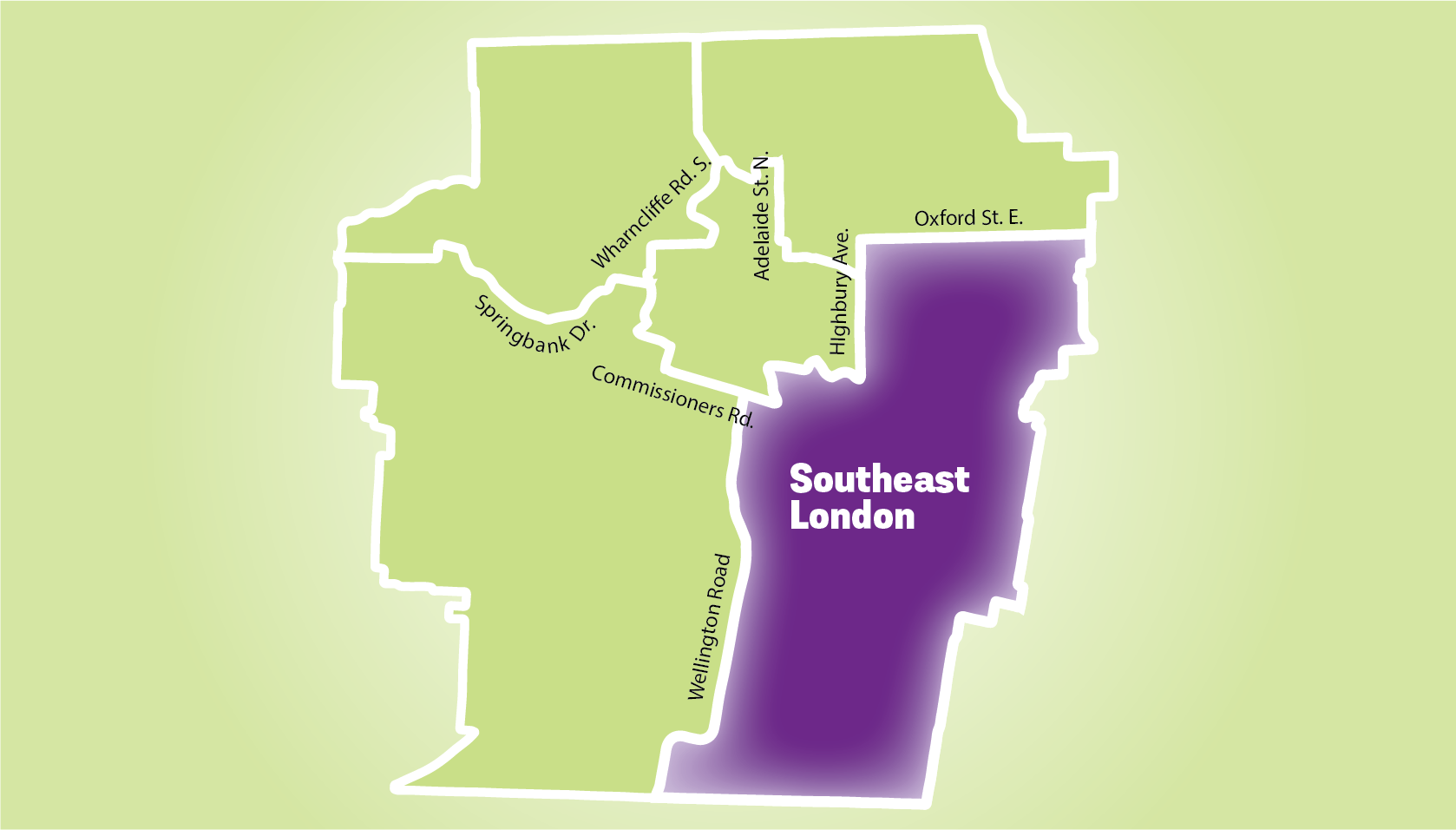 Map of London featuring Southeast.