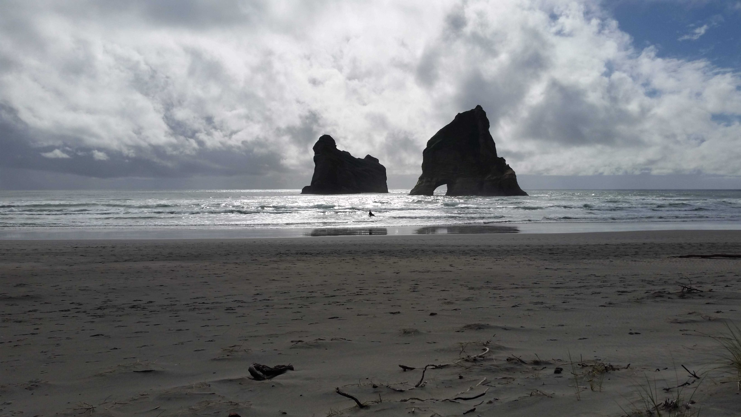 View of the rock formations just off the beach on Wharariki beach
