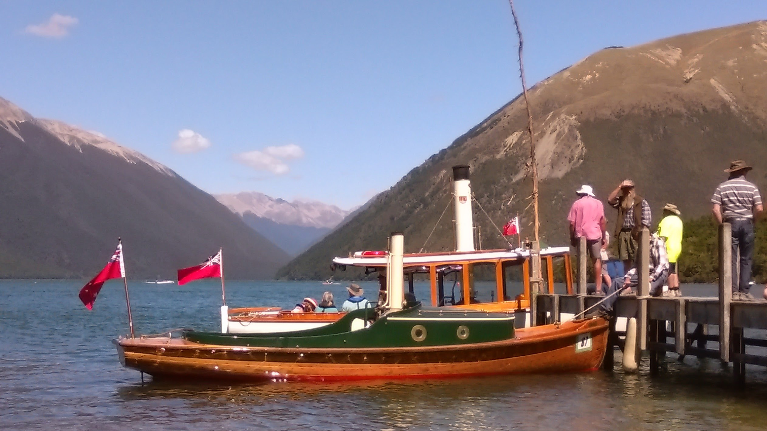Steam boated moored at the Lake Rotoiti wharf during the 2016 Antique & Classic boat show