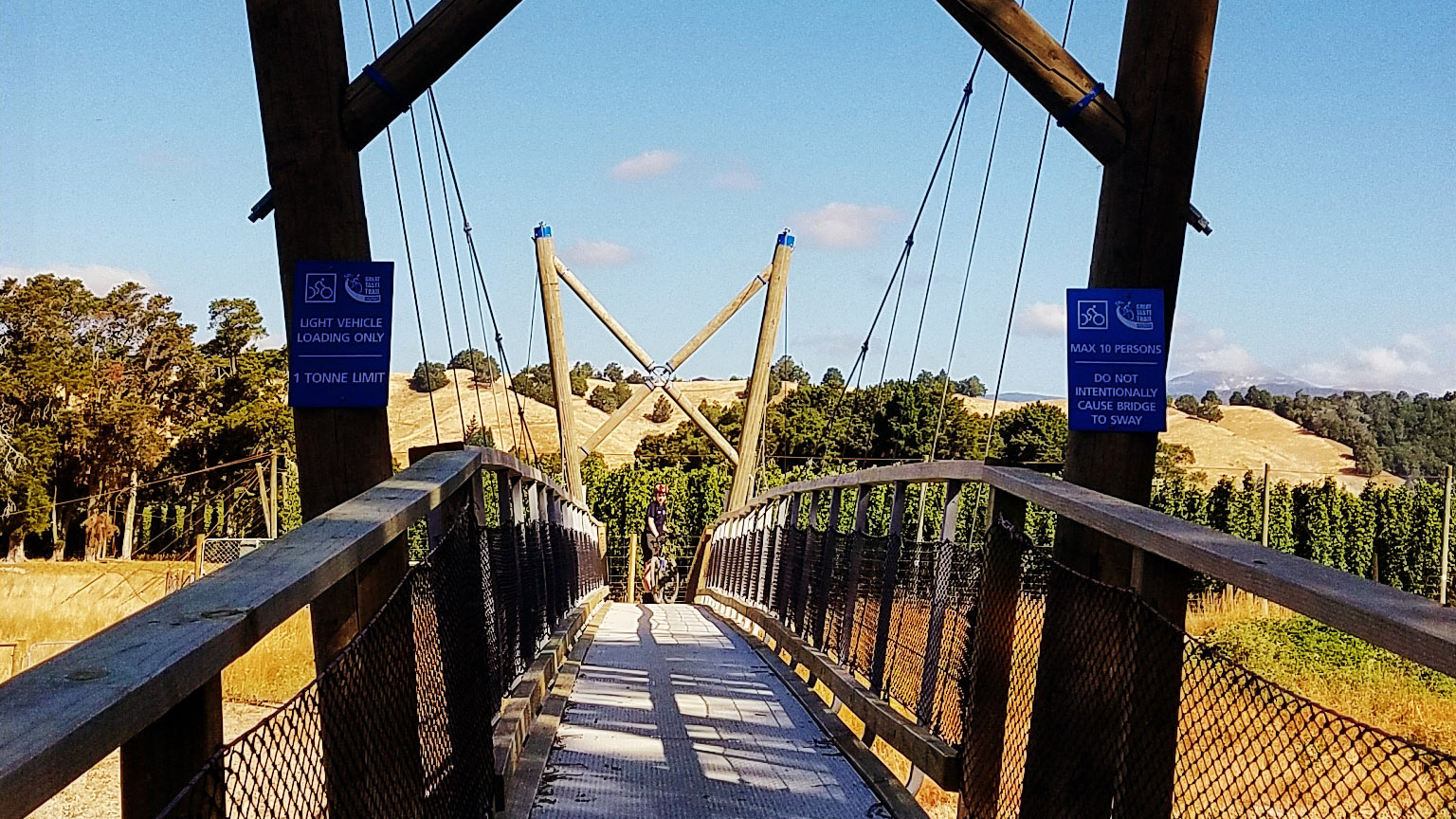 Cycling and walking bridge on the Great Taste Trail in Motueka, biker visible at the far side of the bridge
