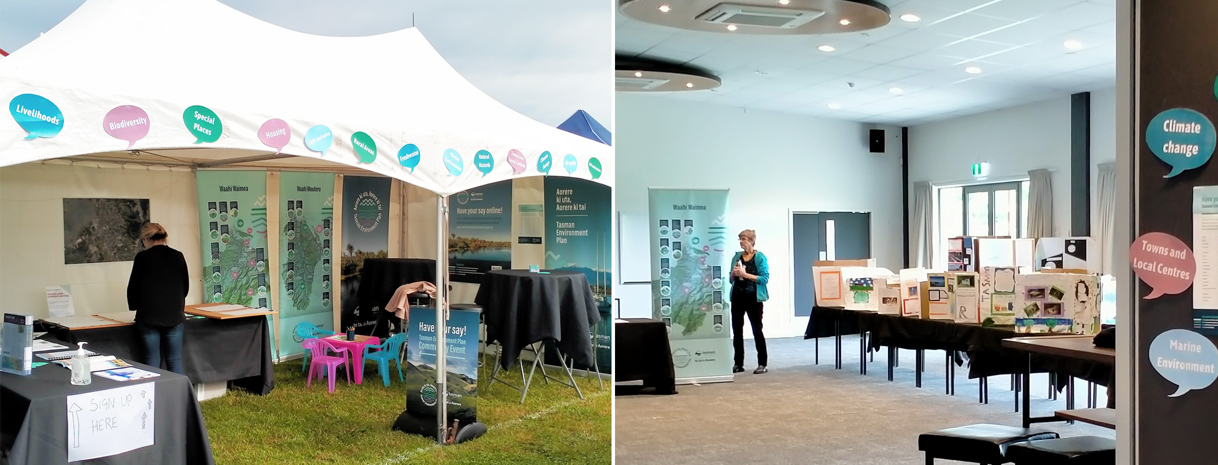 Tasman Environment Plan marquee at the A&P Show and drop-in session at Moutere Hills Centre