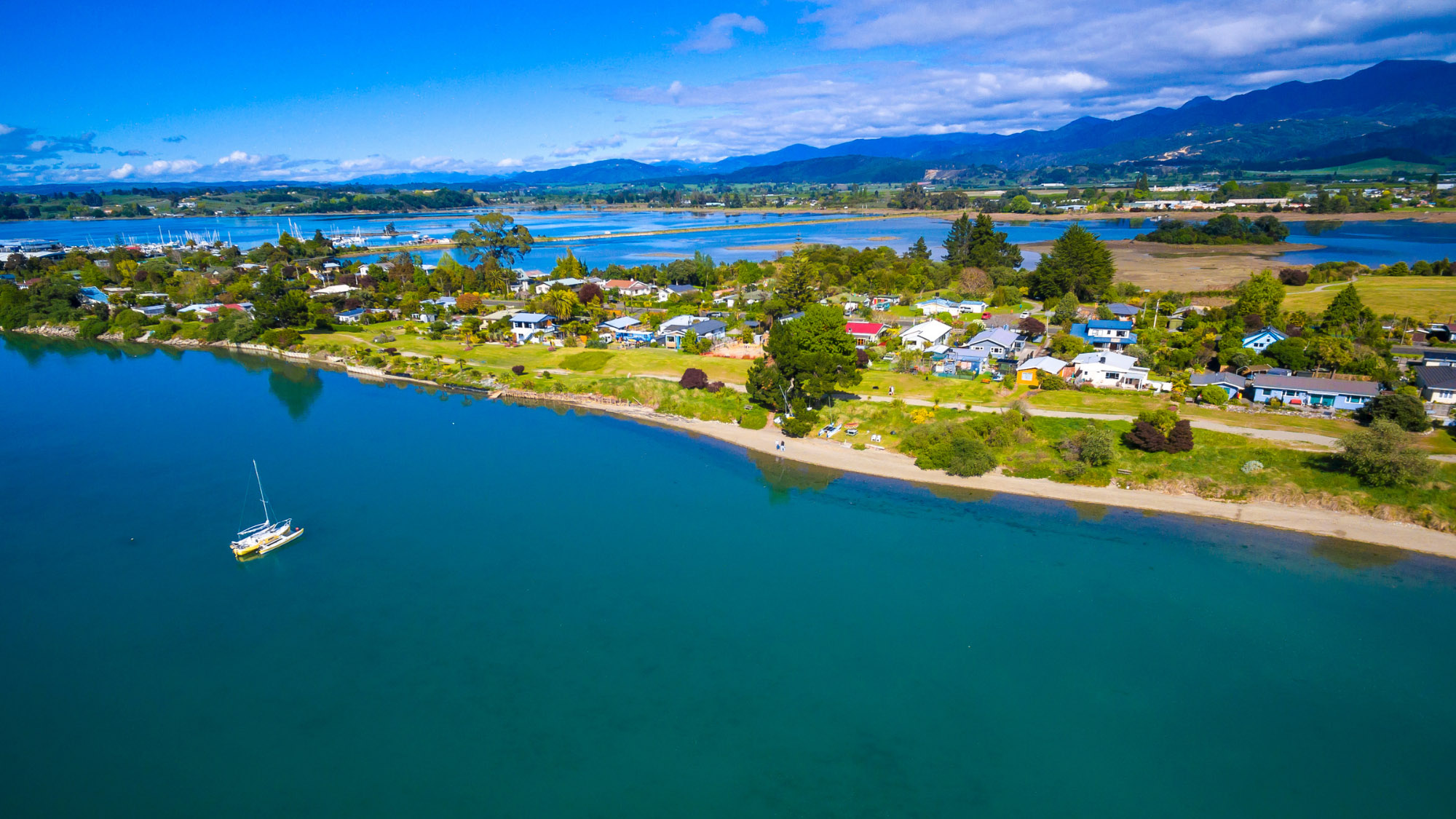 Aerial view of Motueka from the sea