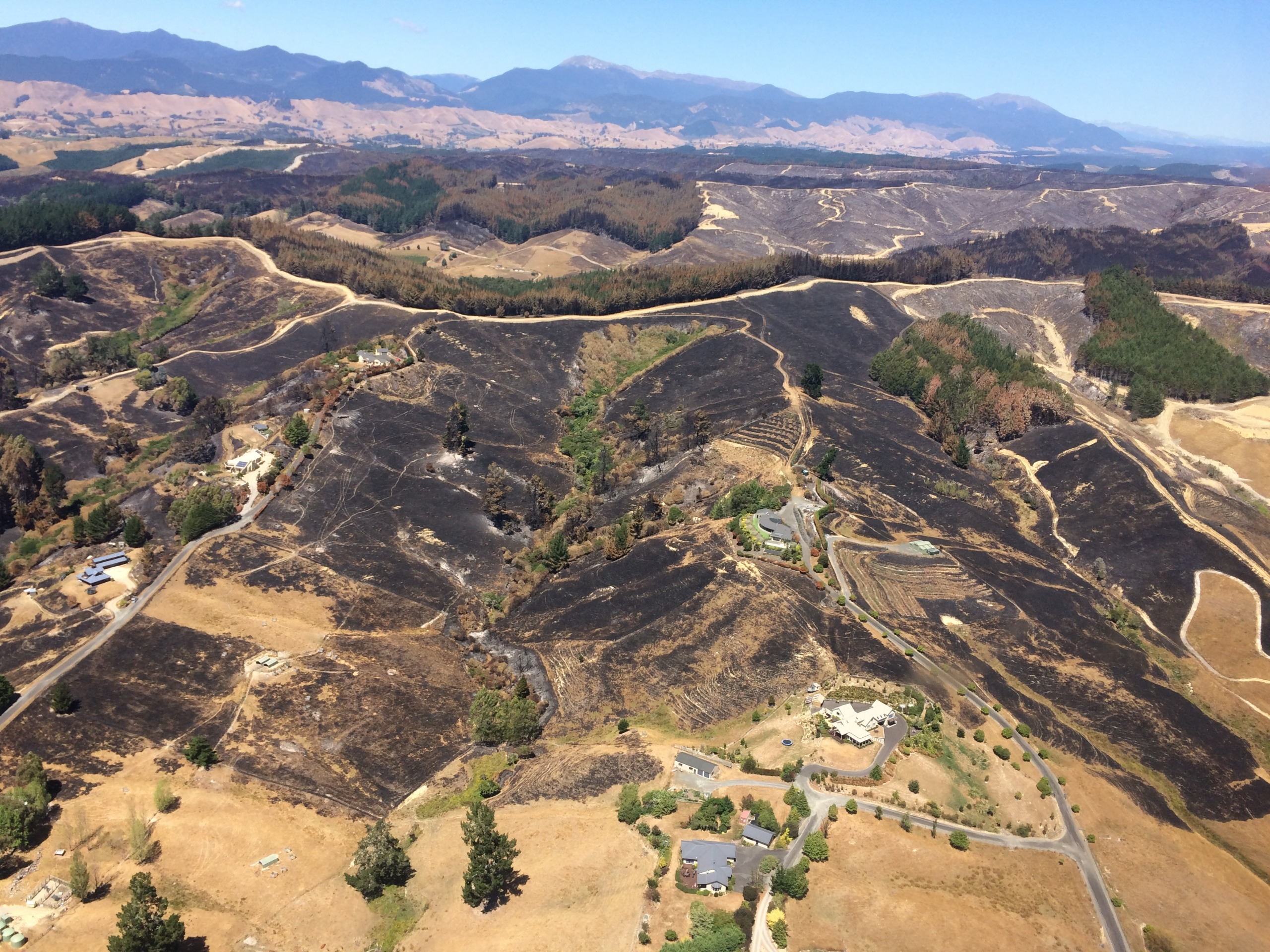 Aerial view of Pigeon Valley after the fire in February 2019