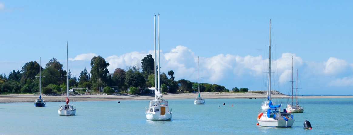 Sail boats moored in the Mapua estuary