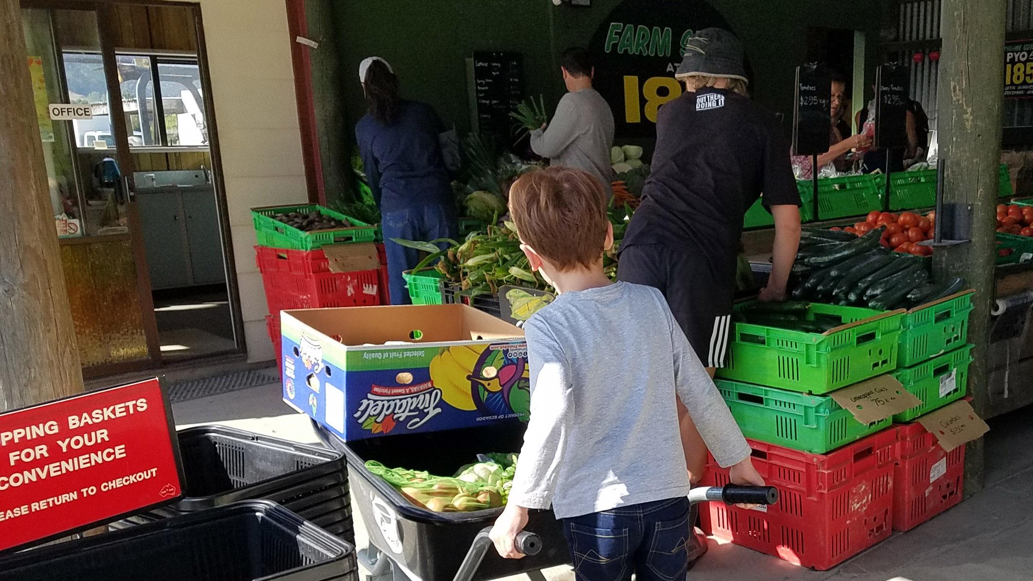 Child vegetable shopping in Waimea