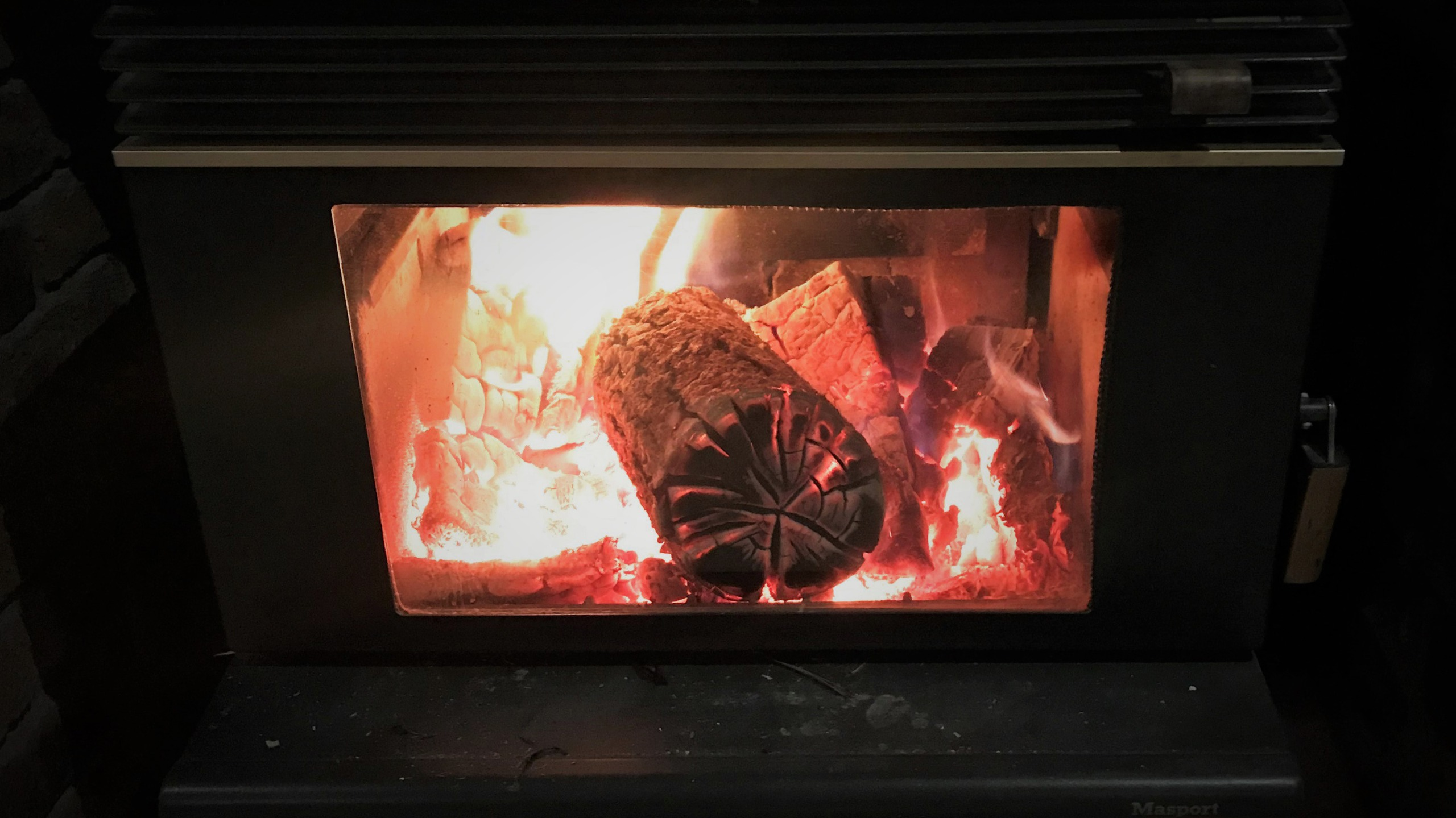 Close up of a log burner in use