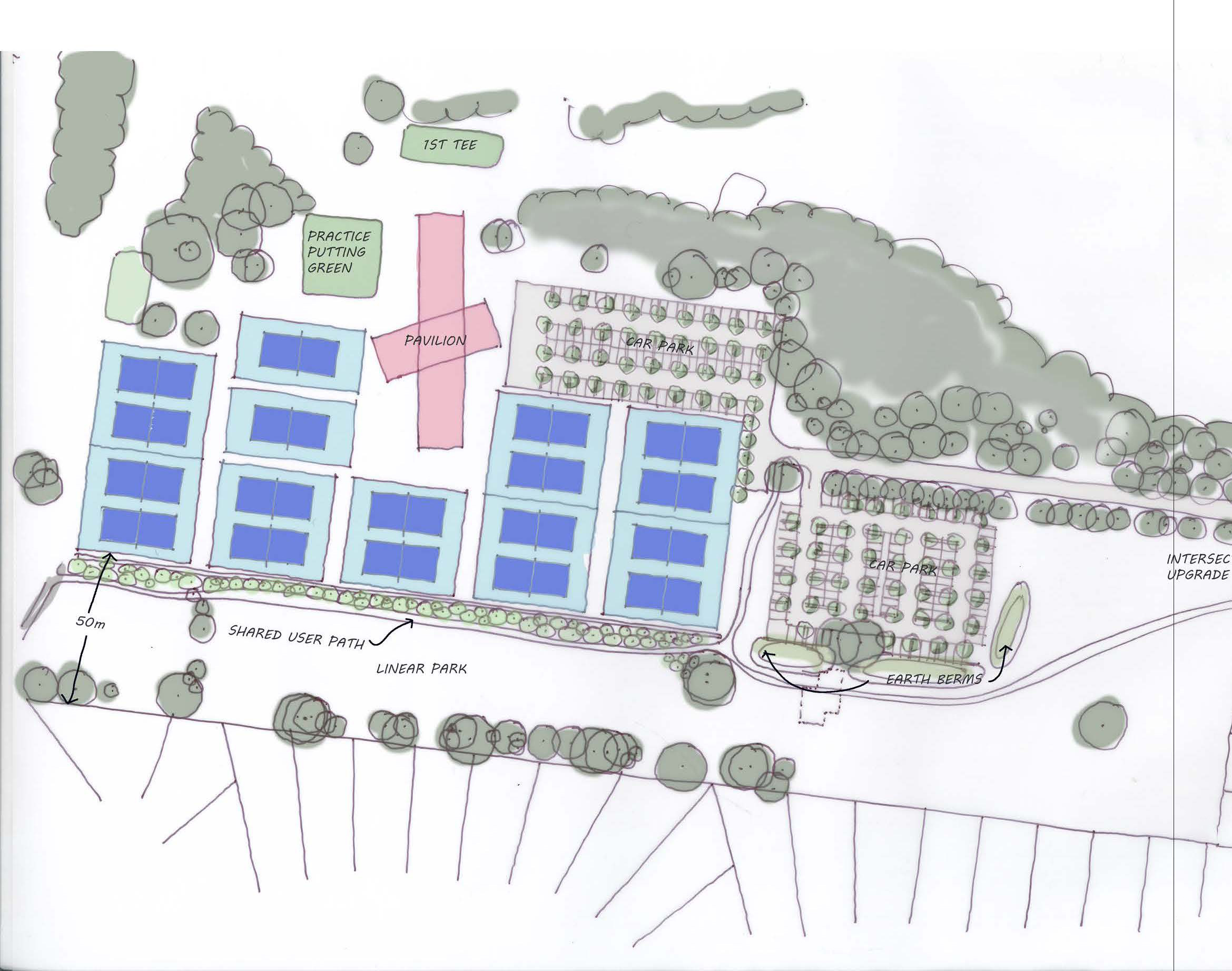 tennis court layout with 50m buffer from residential properties