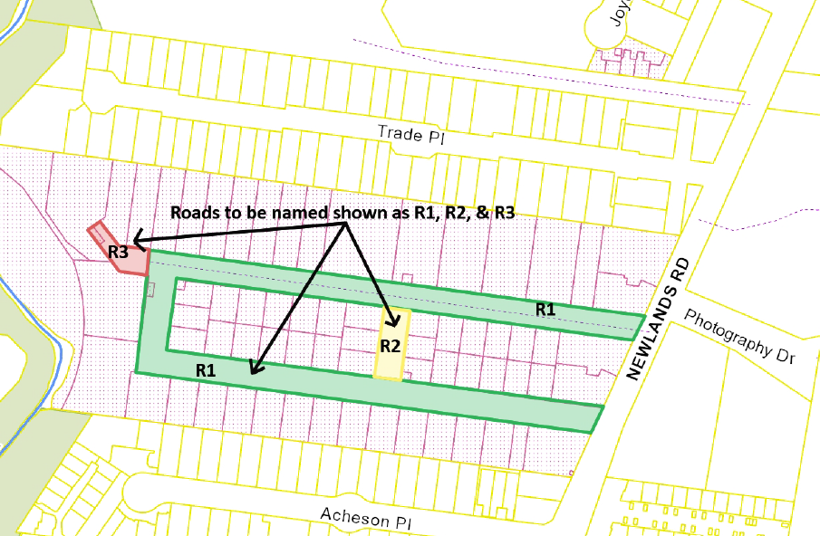 Map showing 3 new roads within subdivision area of 105 Newlands Road, Coburg North