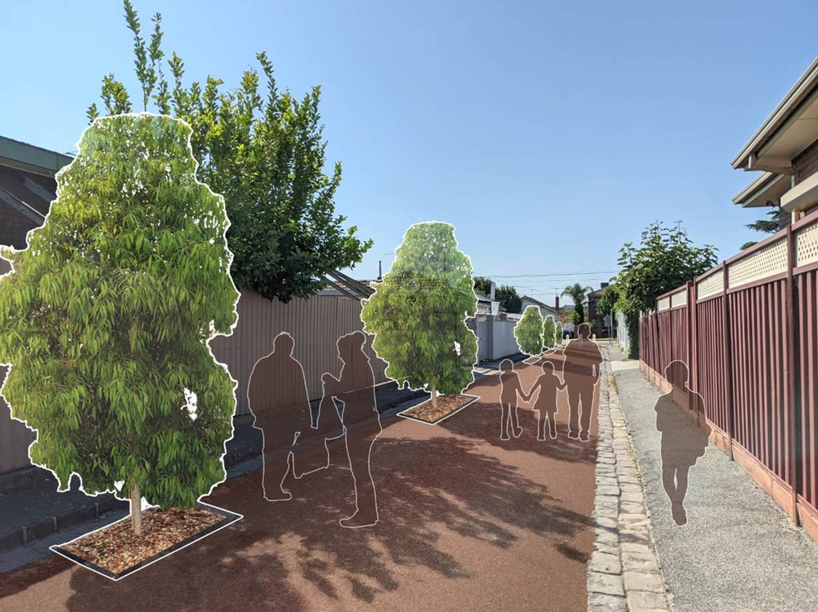 Image of Carlisle street with artist impression of the space closed off to traffic and pedestrians walking through ,there are also images of proposed trees