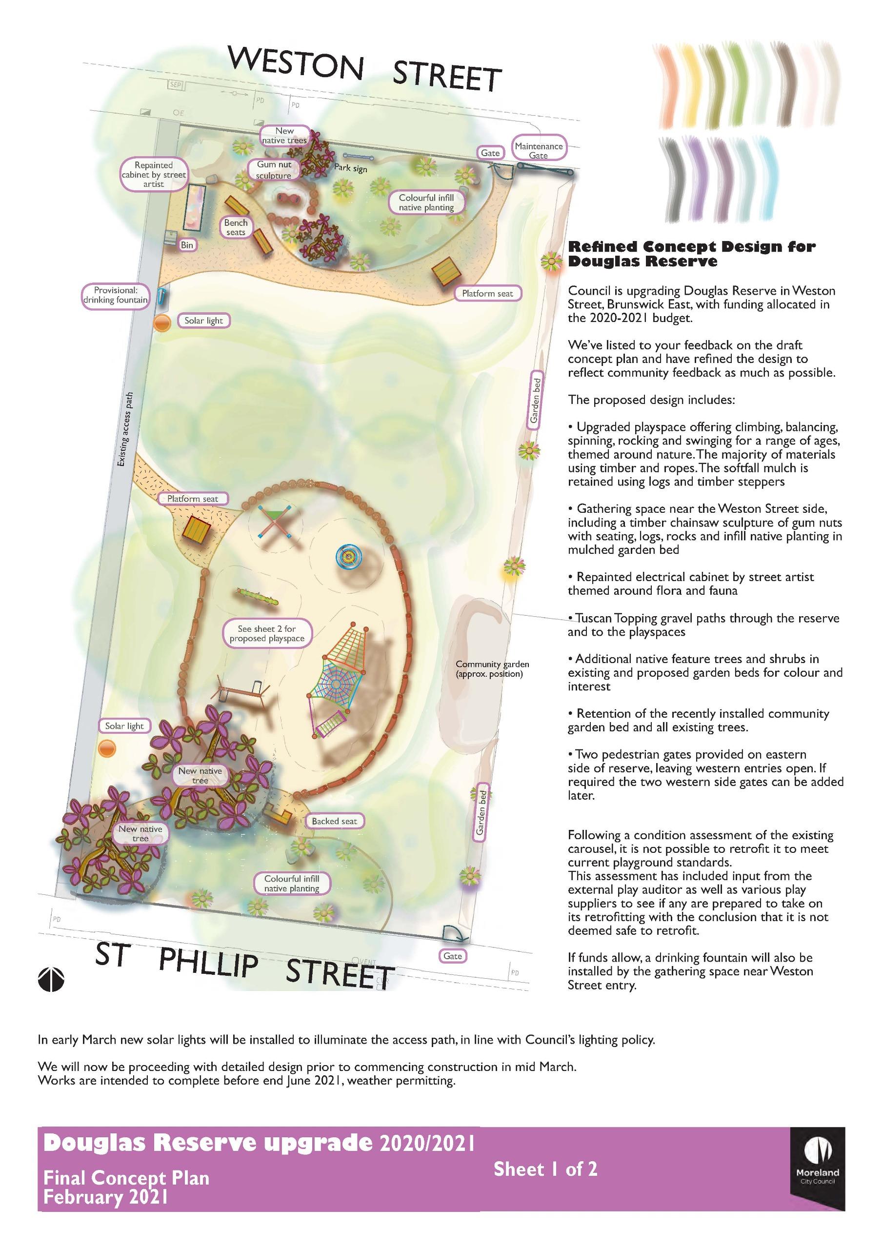 Douglas Reserve refined concept plan sheet 1 of 2