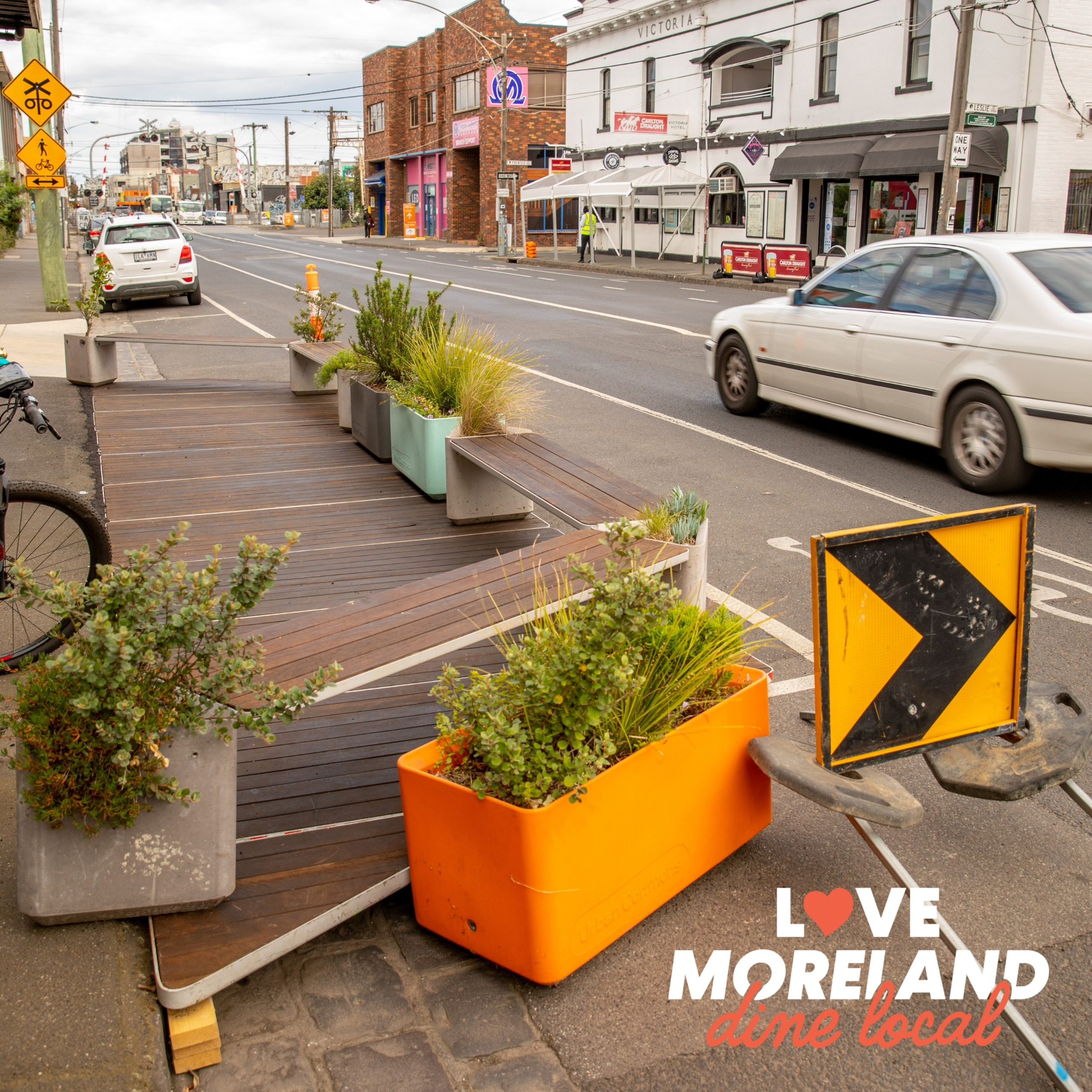 a parking space on Victoria Street, Brunswick, converted into a dining area.