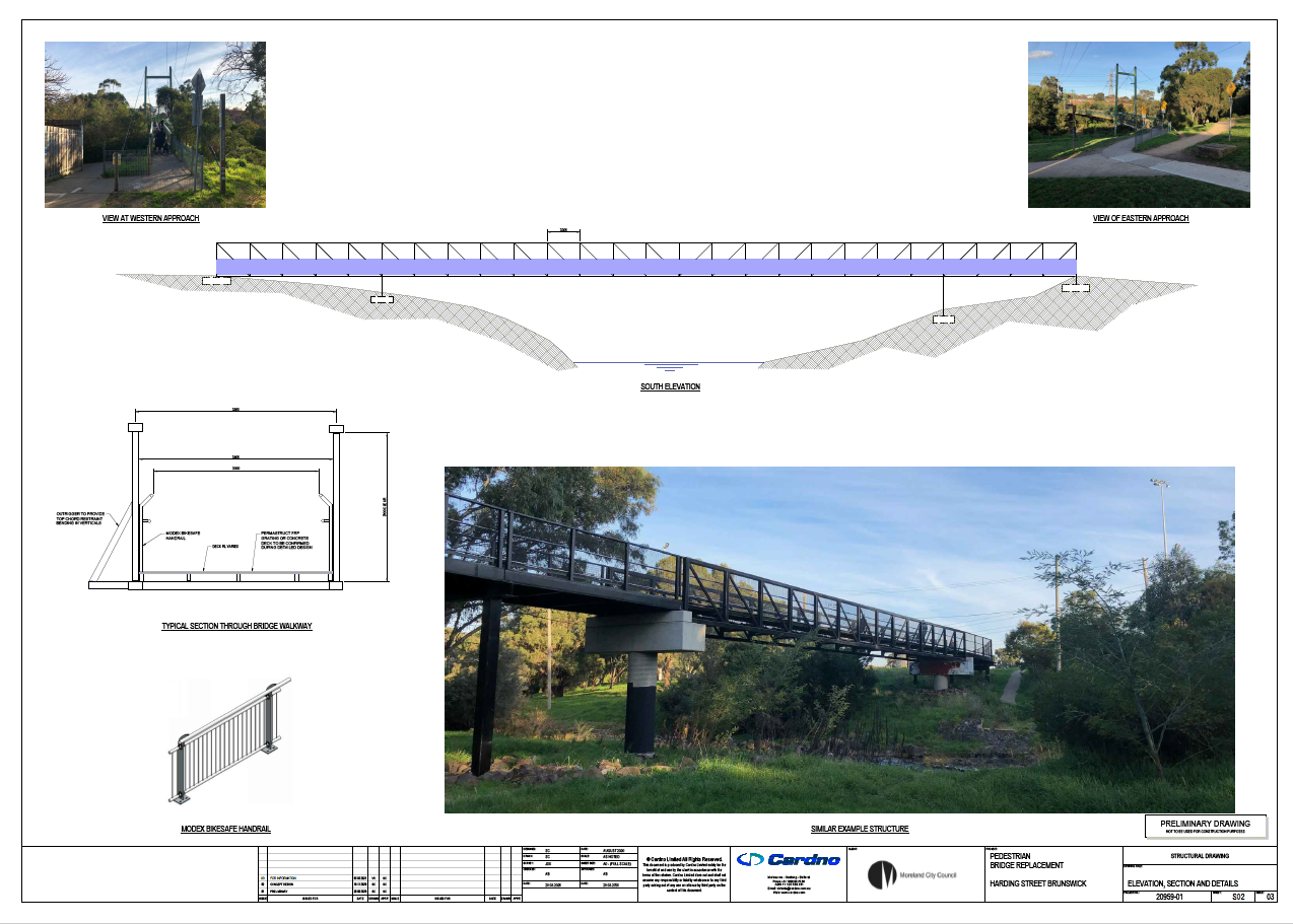 Proposed truss bridge design viewed from South