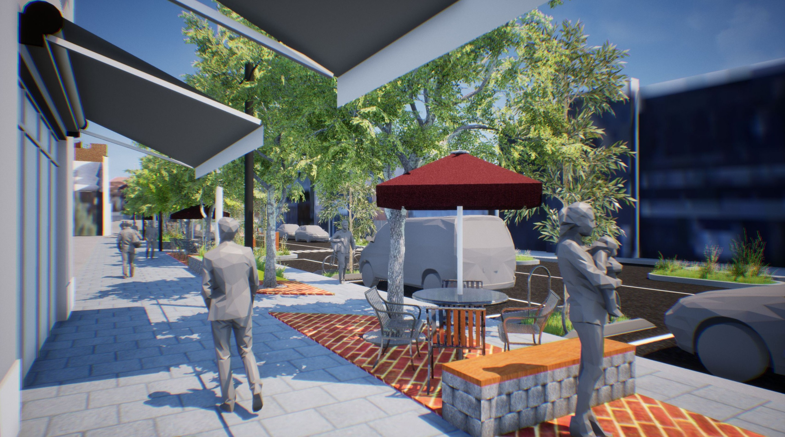 Outdoor dining area & public seating