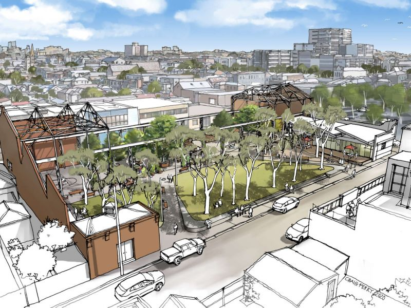 Artists impression of the new park at 14 Frith Street Brunswick