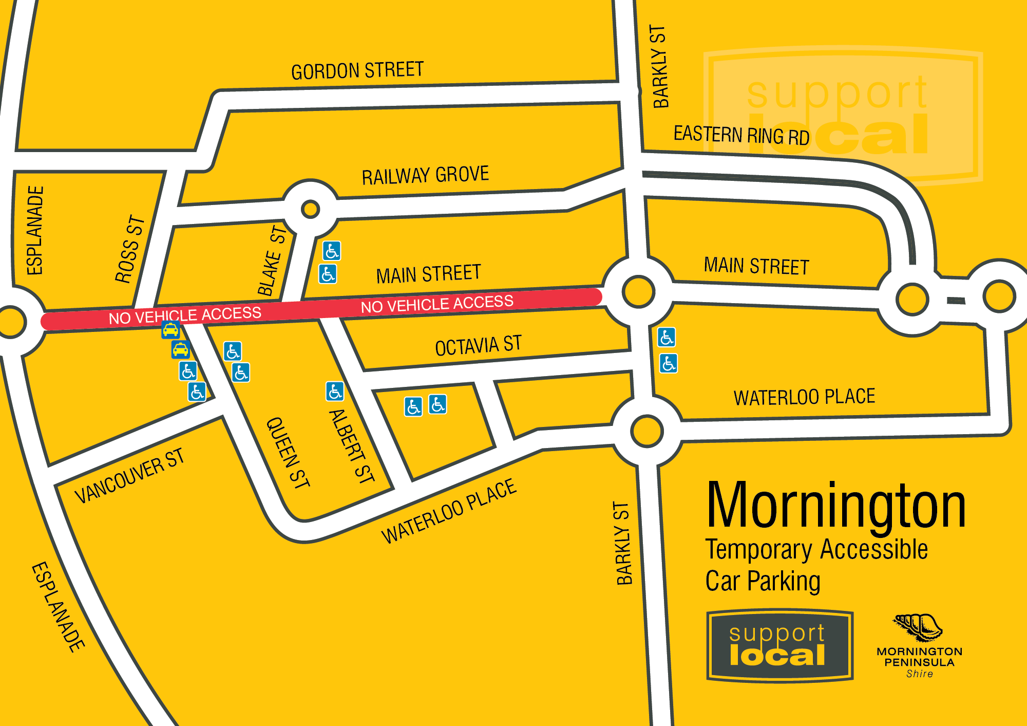 Map of Mornington's temporary street changes for outdoor dining