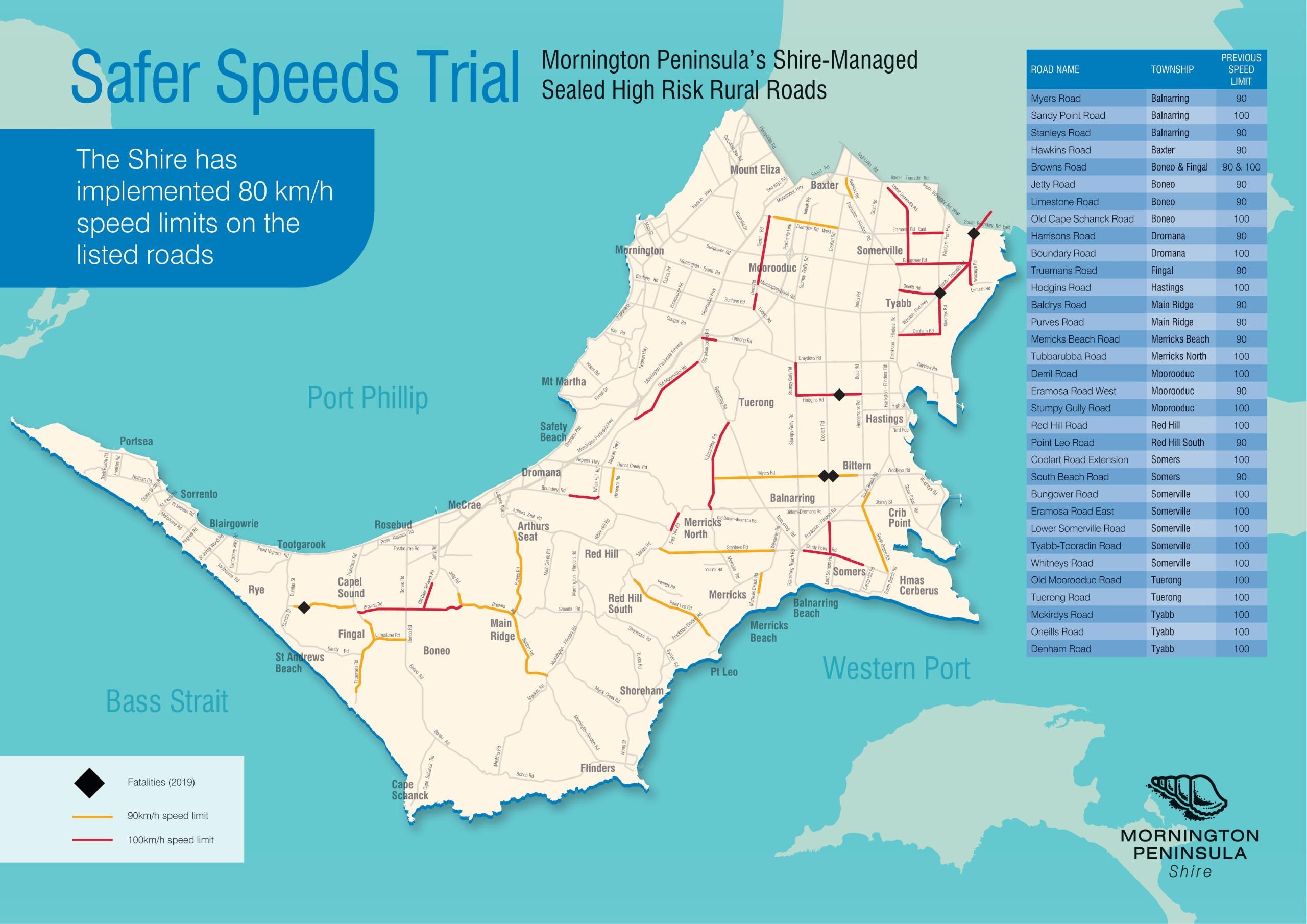 Safer speeds trial map