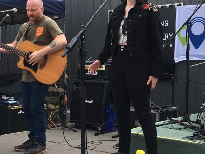 two people perfoming on stage