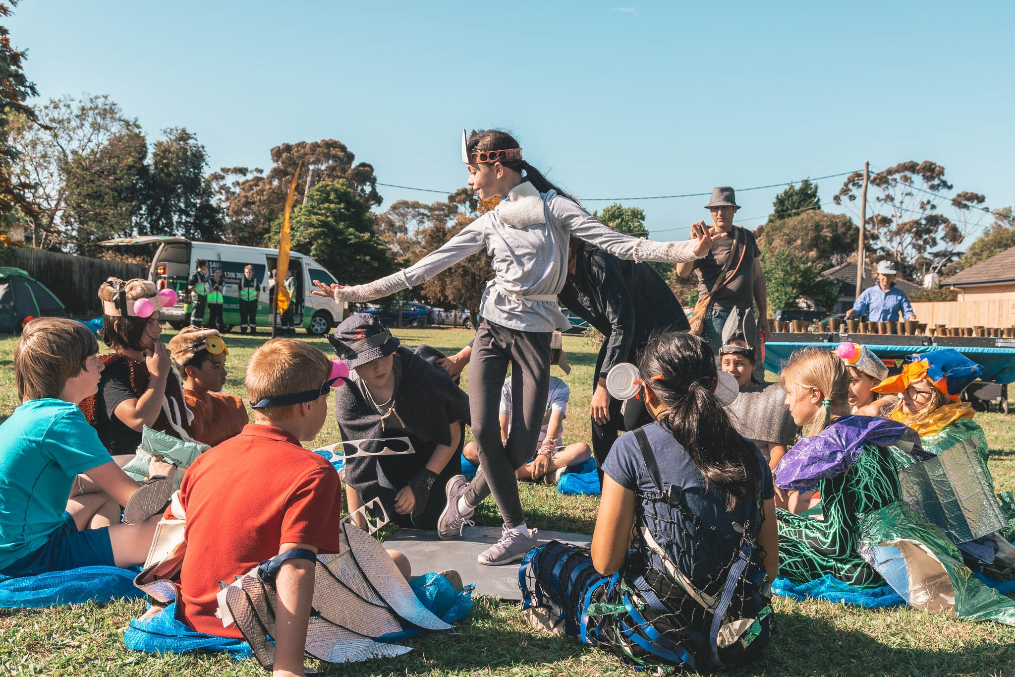 Local school children take part in interpretive dance depicting the history of the waterway and its importance as home for animals