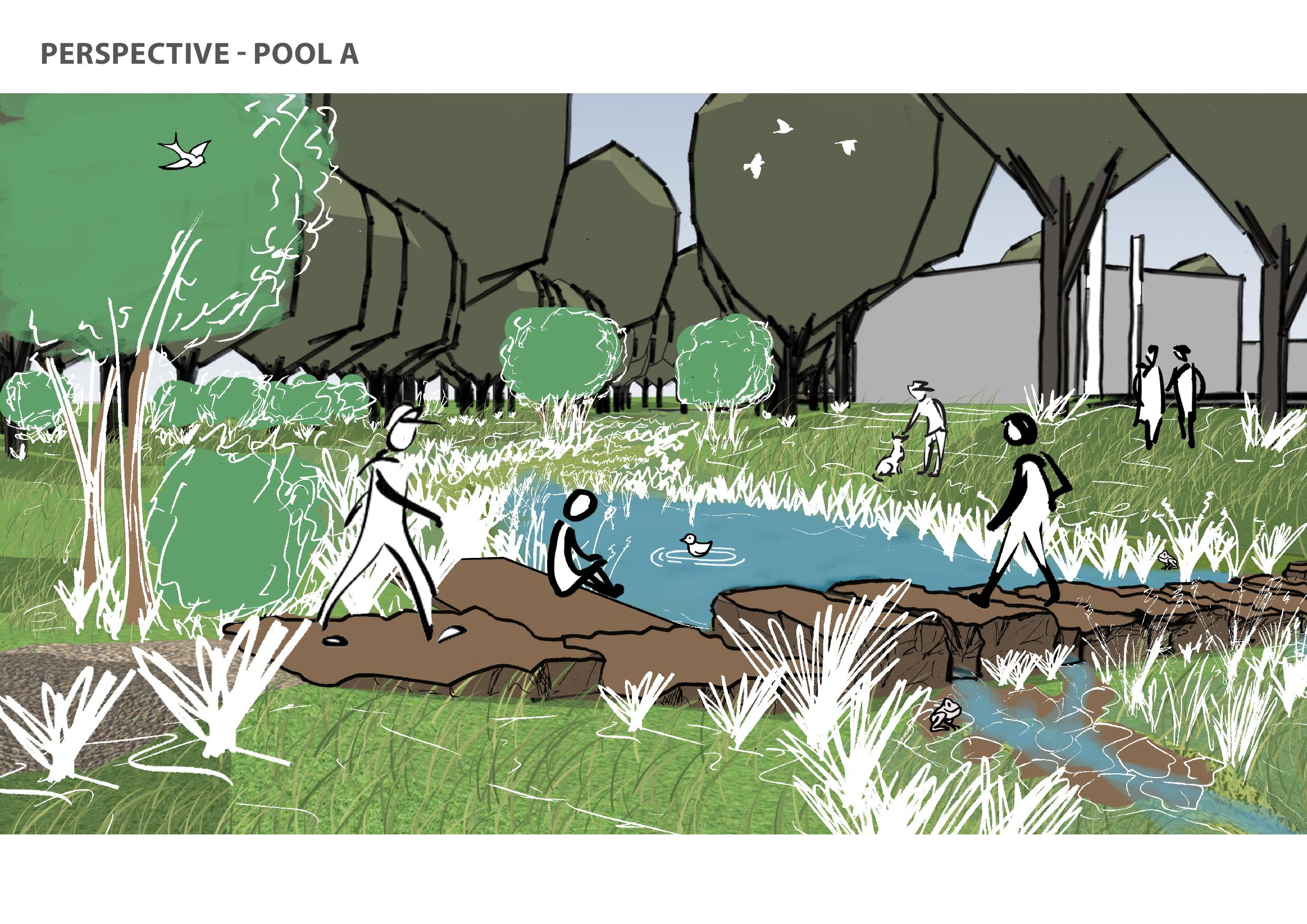 Artist illustration image showing new design features of stepping stones