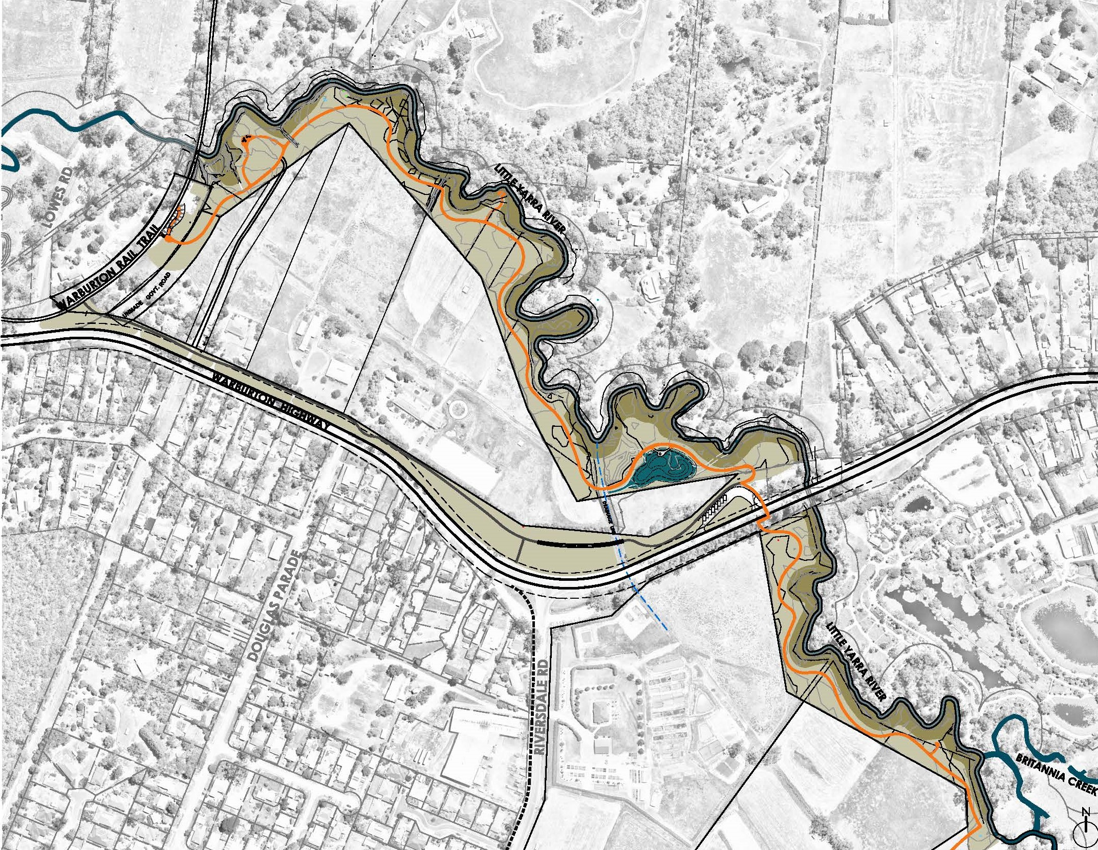 Stylised map showing new trail path connection along Little Yarra River