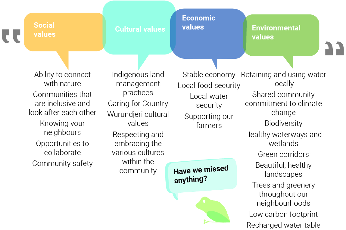 Snapshot image of community values
