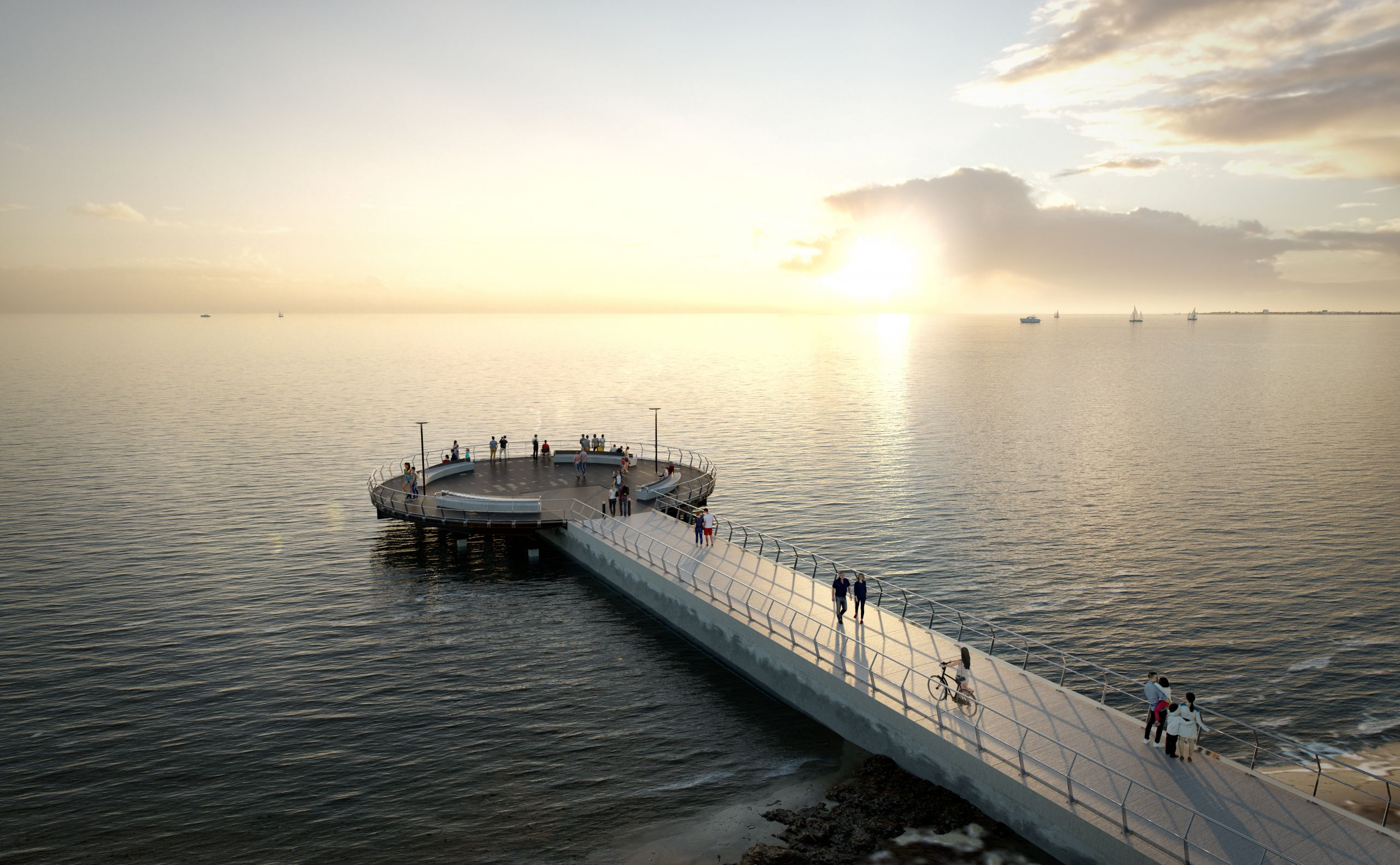 Artist impression of viewing platform that overlooks St Kilda beach