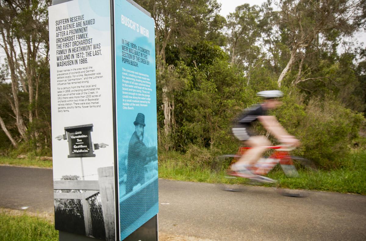 Picture of interpretive sign at Dandenong Creek