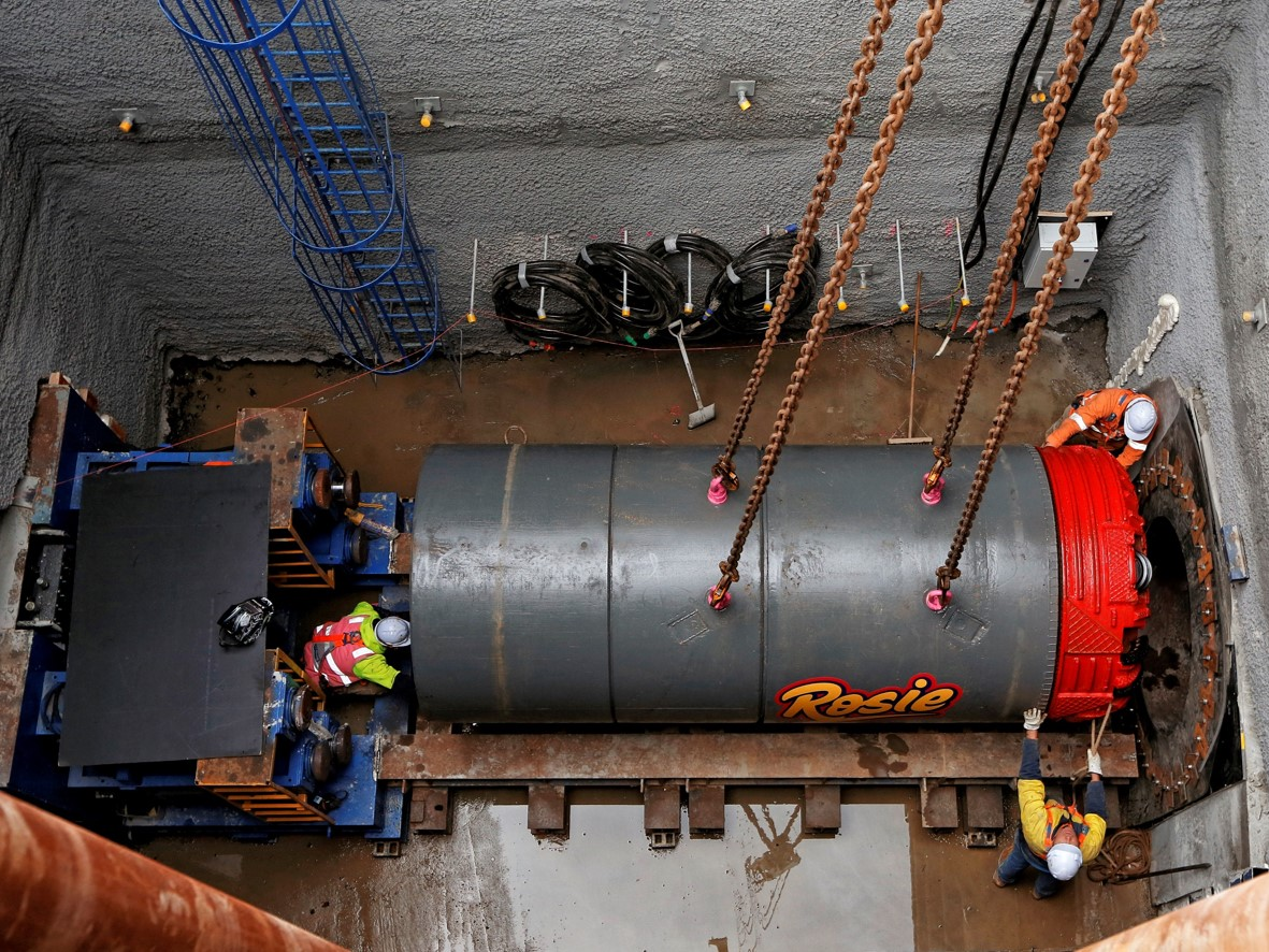 Photo of tunnel boring machine in launch shaft