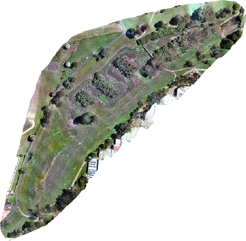 Aerial image of the creek prior to works commencing