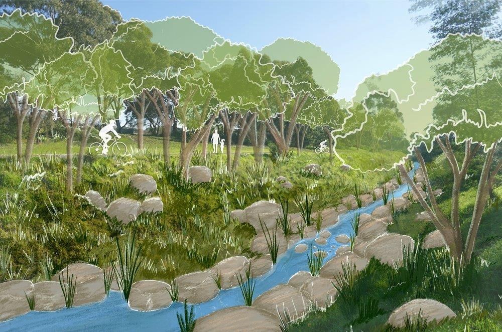 Design concept A provides an image of the creek with the concrete sides removed and natural rocks in the waterway.