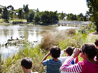 Children at a waterway