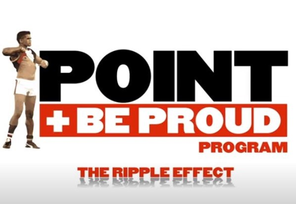 Picture of text 'Point and Be Proud' the ripple effect.