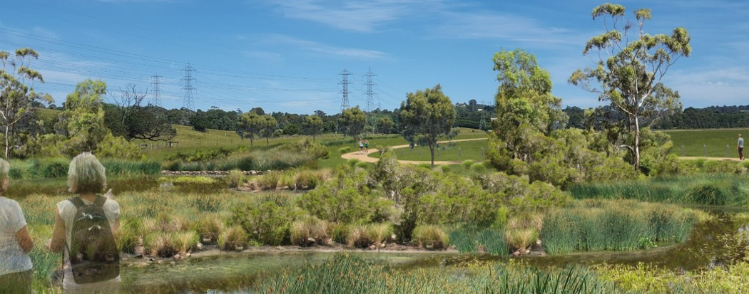 Artist impression of improving landscape with wetlands and trees
