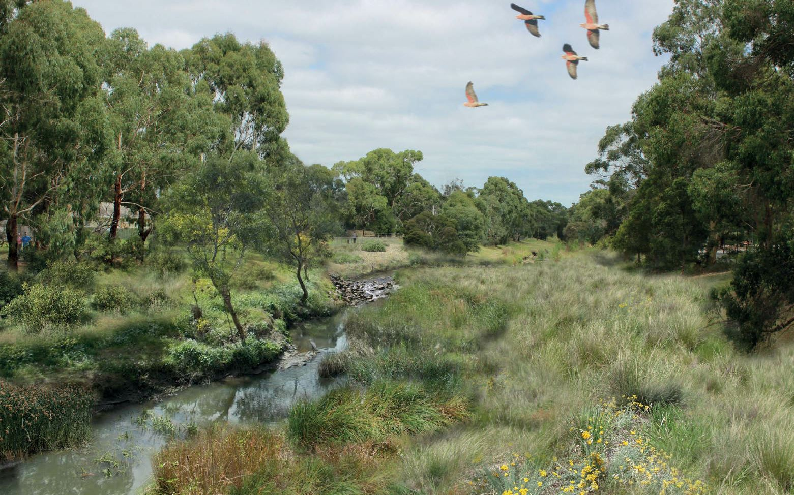 Artists impression for the creek in 2027