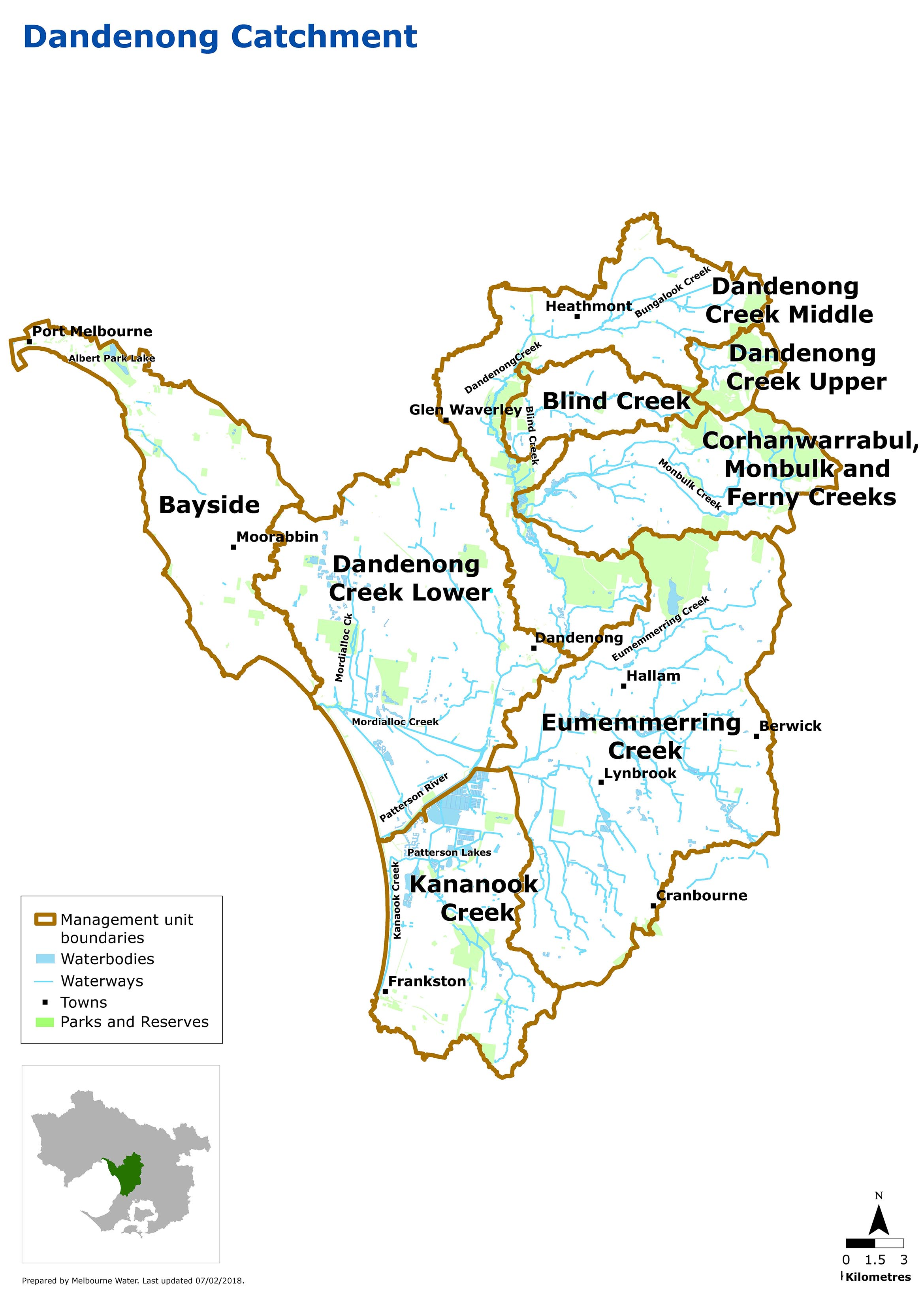 Map of Dandenong Catchment